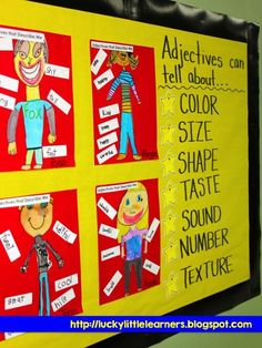 Adjectives, Adjectives, Adjectives! Combination art and parts-of-speech activity to help students describe themselves! A great activity for second and third graders at the beginning of the year!