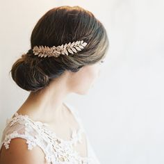 Grecian leaf hair piece bridal clip by EricaElizabethDesign,