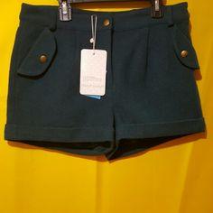 NAF NAF Naf Naf Teal Blue shorts ||| Main material-50% Wool  50% Polyester  / Lining-100% Polyester ||| NAF NAF Shorts