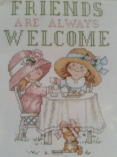 The Tea Party Counted Cross Stitch Kit Friends are Always Welcome Simplicity #Simplicity #CountedCrossStitchKit