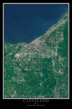 On a crisp and incredibly clear day in November of the U. Geological Survey's LANDSAT 8 sensor captured this scene depicting the Greater Cleveland area along the south shore of Lake Erie inclu Cleveland Ohio, Cleveland Rocks, Cleveland Indians, Lake Oconee, Satellite Maps, Forest City, Lake Erie, Beautiful Places In The World, Great Lakes
