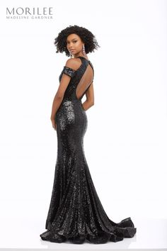 Glamorous All Over Sequin Party Dress Featuring a High Neck Cold Shoulder Bodice, and Open Keyhole Back Sequin Party Dress, Sequin Gown, Formal Wear, Formal Dresses, Social Dance, Designer Prom Dresses, Mori Lee, Lela Rose, High End Fashion