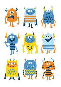 苗圃艺术男孩男孩怪物怪物打印通过艺术BubbleGumYears: