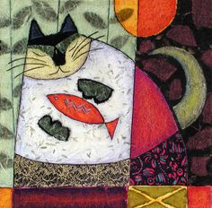 Supper Cat by Penny Feder - (Giclee Print) High School Art Projects, Pottery Painting Designs, Felt Pictures, Cat Quilt, Cat Colors, Bold Colors, Pebble Painting, Tribal Art, Mosaic Art
