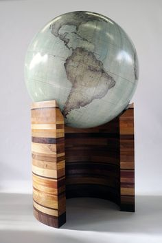 The Wooden Curve :: Bellerby and Co Globemakers, London, England. Makers of bespoke handmade artisan globes. Is this gorgeous or what? World Globe Map, Globe Art, World Globes, Map Globe, Desk Globe, We Are The World, Wonders Of The World, Travel Themes, Vintage Maps