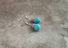 Turquoise earrings with rhinestone accents blue flashy