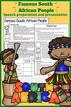 A set of worksheets that provide the scaffolding required to put together a prepared speech / oral on a famous South African Person. South Africa Map, Geography Activities, Study History, Scaffolding, Rubrics, Social Studies, Worksheets, Helpful Hints, Presentation