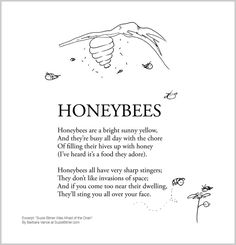 """Funny summer and spring children's poem about honeybees. Great for classroom and school learning activities. common core 1st grade, 2nd grade, 3rd grade reading #ESL """"Honeybees are a bright sunny yellow"""""""