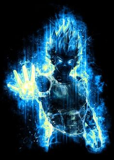 god super dbz dragonball dragonballz vegeta blue saiyan fighter anime manga power painting light powerful awesome cartoon japan japanese epic popular energy surreal Characters