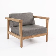 A gorgeous club chair, made for outdoor lounging, this teak outdoor chair is a beautiful piece of the mid-century styled Copenhague Collection by Gommaire.
