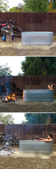 DIY hot tub for your backyard! Click link to see the video instructions :) http://www.homemade-modern.com/ep112-diy-wood-fired-hot-tub/