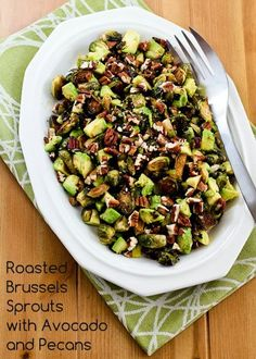 Roasted Brussels Sprouts with Avocados and Pecans; these are perfect for #Thanksgiving or as a side dish for any nice dinner. [from KalynsKitchen.com] #DeliciouslyHealthyLowCarb #GlutenFree #Paleo