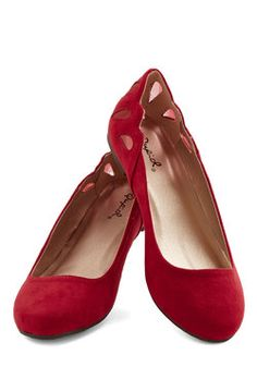 Fluttering Footsteps Flat. With a beautiful evening planned, you practically float to dinner, flaunting these red flats beneath a black crocheted dress. #red #modcloth