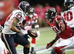 Houston Texans running back Arian Foster (23) loses the ball against the Atlanta Falcons during the first half of an NFL football game, Sunday, Oct. 4, 2015, in Atlanta. Atlanta Falcons cornerback Desmond Trufant recovered the fumble and scored a touchdown. (AP Photo/John Bazemore)