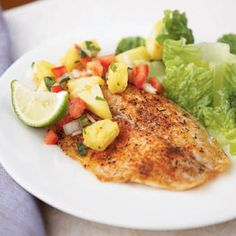 Spicy Tilapia with Pineapple-Pepper Relish | MyRecipes Yield: 4 servings (serving size: 1 fillet, about 1/2 cup relish, and 1 lime wedge) Calories: 228