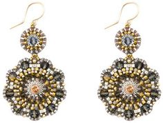 Miguel Ases Sparkly Flower Earrings on shopstyle.com