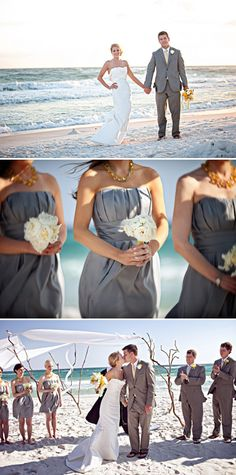 grey and yellow wedding (like the yellow accessories w/ the grey bridesmaid dresses), also the branches with tulle are so pretty!