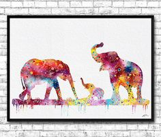 Mom Dad and cute Baby Elephant Watercolor print by ArtsPrint
