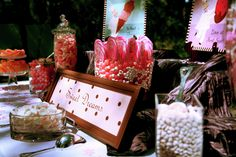 Loved all the pink candy for a wedding buffet!