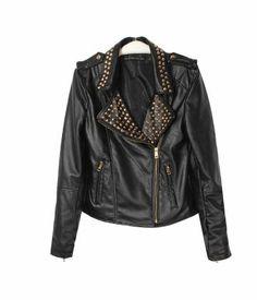 New Arrivals Riveted Lapel Collar PU Leather Jacket ,Latest Street Fashion Pop Online Shop. - Aupie