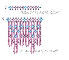 Free pattern for beaded necklace CORNFLOWERS | Beads Magic. Use: seed beads 11/0 and 8/0. Page 2 of 3