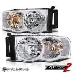 Dodge Ram 1500 Pickup 02 05 Chrome Clear Headlight Lamps New Left Right