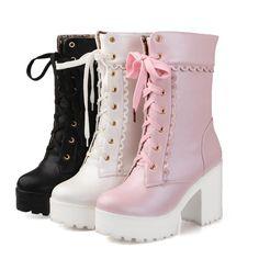 "Custom Japanese kawaii lolita heels boots SE10574      Coupon code ""cutekawaii"" for 10% off"
