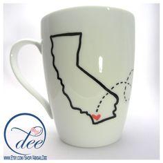 State Love Mug -- Two States, One Mug-- Custom Present, Long Distance... ($15) ❤ liked on Polyvore