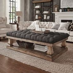 Knightsbridge Tufted Linen Baluster 60-inch Cocktail Ottoman - Free Shipping Today - Overstock.com - 18523929 #familyroomdesignkidfriendly