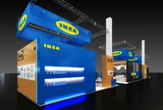 Exhibition stand proposal for IKEA company.  The result was a total success! Through packaging indicating the IKEA trademarks and its corporate identity, 244 square meters of exhibition display unfold, focussing on the company's dynamic entry in professional equipment sector, which was the main project concept.