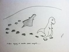 T-Rex Trying is Hugh Murphy's cartoon collection showing a poor little tyrannosaurus trying and failing to do different things that require longer arms. It's hard to be a t-rex in a brontosaurus world. Super Funny, Funny Cute, Hilarious, T Rex Arms, T Rex Humor, T Rex Jokes, T Rex Shirt, Daily Dot, Dinosaur Funny