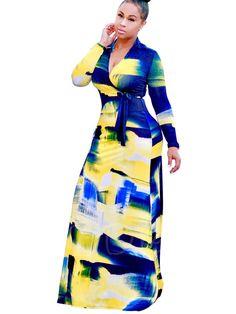 Tbdress.com offers high quality V Neck Graffiti Women's Maxi Dress  Maxi Dresses unit price of $ 21.99.