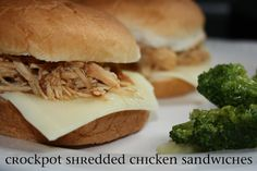 Crockpot Shredded Chicken Sandwiches
