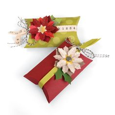 Sizzix - Winter Wishes Collection - Christmas - Thinlits Die - Box, Pillow and Poinsettias