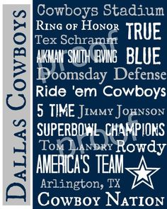 Dallas Cowboys Subway Art Print 11x14