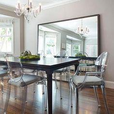 How to decorate a large dining room wall. (except hanging not leaning on floor)