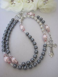 Girl Silver Grey and Pink Personalized Name Rosary, for Baptism, Christening, Communion, Initial Bracelet, God Daughter Gift