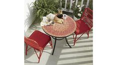 Kruger Ribbon Red Dining Chair with Sunbrella ® Ribbon Red Cushion | Crate and Barrel