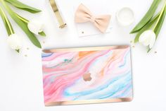 Platinum Edition Pastel Marble Swirl with Rose by Cliqueshops