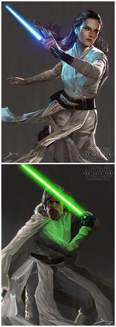 Rey and Luke Skywalker by Sarayu Ruangvesh