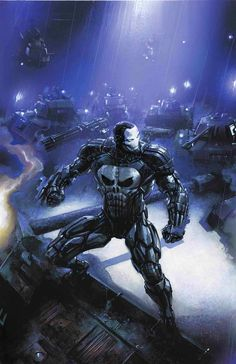 Marvel Comic Book Artwork • Iron Punisher By Clayton Crain. Follow us for more awesome comic art, or check out our online store www.7ate9comics.com