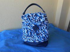 Borsa  fatta a mano con  fettuccia blu-bianca-azzurra e jeans a zainetto,idea regalo., by Le gioie di  Pippilella, 30,00 € su misshobby.com