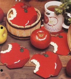 Bushels of Apple Coaster Set Plastic by needlecraftsupershop, $4.50