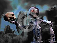 Robot contemplating a skull at the foreground of a devastated big city.
