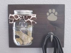 Rustic Wood Dog Treat and Leash Holder
