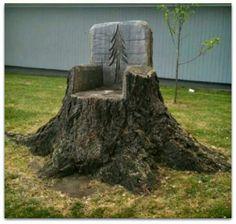 Tree stump chair!  So cool!