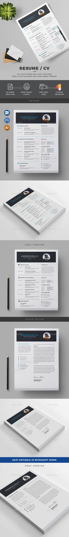 Resume/CV by generousart Features of Resume Template Color & US Letter Size With Bleeds Quick and easy to customize templatesChange Customize ea