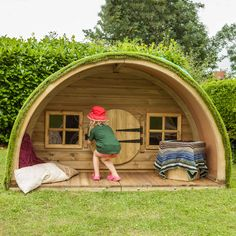 This attractive high quality timber Woodland Cabin is topped with a play lawn surface for a natural look. Hobbit Playhouse, Backyard Playhouse, Backyard Sheds, Backyard Playground, Garden Projects, Diy Projects, Woodland House, Wendy House, The Hobbit
