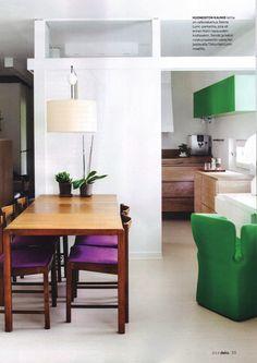 Flat in Tapiola, Reima Pietilä, Suvikumpu, green and white, teak Teak, Green, Table, Furniture, Design, Home Decor, Decoration Home, Room Decor, Tables