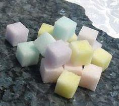 Colored sugar cubes
